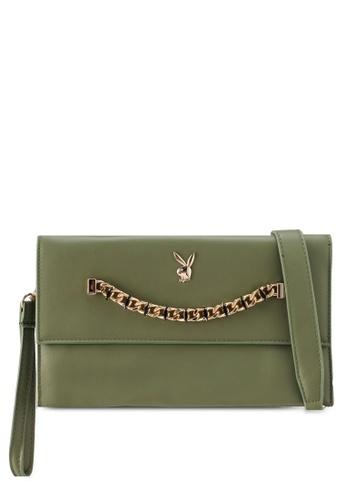 PLAYBOY BUNNY green Chained Gem Clutch Bag 65077AC7C3EF07GS_1