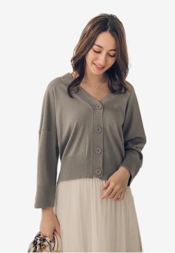 Yoco grey V-Neck Long Sleeve Knitted Cardigan DE92CAA261EABFGS_1