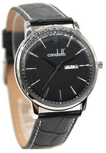 Condotti CN1035-S03-L03 Jam Tangan Pria Leather Strap Hitam Ring Silver Plat Hitam
