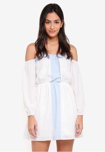 Something Borrowed white Cold Shoulder Swing Dress 70EE2AA461F8CFGS_1