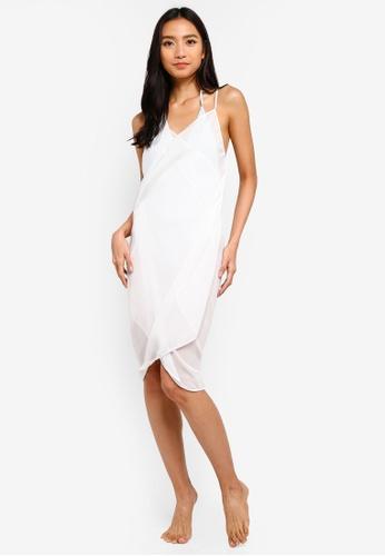 PINK N' PROPER white Mira Chiffon Beach Cover Up Dress 61037USC9507B0GS_1
