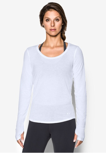 Under Armour white Threadborne Streaker Long Sleeve Top UN337AA0RUCBMY_1