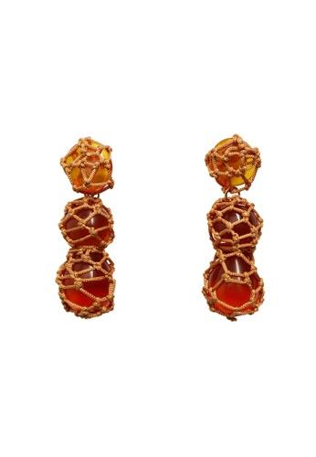 Mango orange Resin Pendant Earrings 5B95EAC6C1AB7AGS_1
