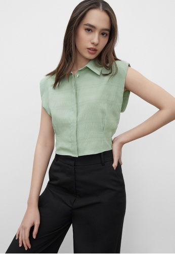 Pomelo blue Cropped Texture Button Up Top - Mint AC579AA24E983EGS_1
