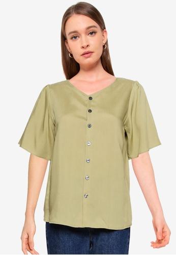 GLOBAL WORK green Short Sleeve V Neck Shirt F2A5DAA0056EA1GS_1