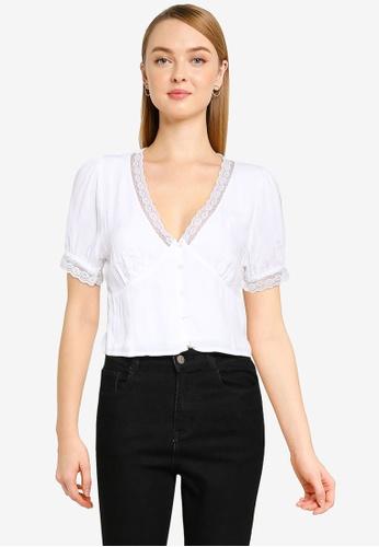 Cotton On white Lace Trim Short Sleeve Blouse 929E2AA6762B65GS_1