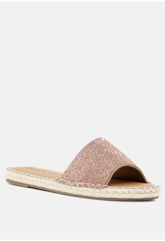 99b3bd646ae5 London Rag Embellished Flat Slip-on HK  259.00. Available in several sizes. London  Rag gold Flat Sandal with Weaved Straps D3BA6SH46E9A39GS 1
