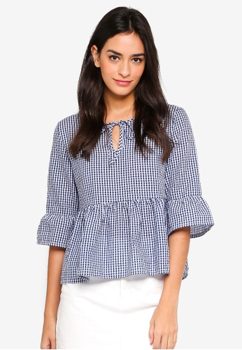 Something Borrowed navy Gingham Babydoll Blouse 4C49CAAE442581GS_1