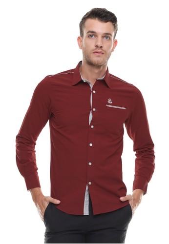 Johnwin red Johnwin - Slim Fit - Kemeja Casual Active - Lengan Panjang - Merah 3676BAAD927ABFGS_1
