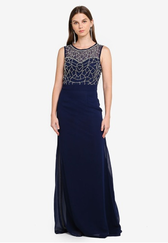Goddiva blue and navy Hand Embellished Cut Out Back Chiffon Maxi Dress 01662AACF86BD9GS_1