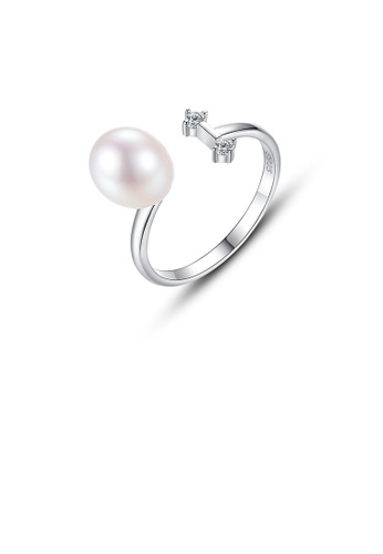 Glamorousky white 925 Sterling Silver Simple Fashion White Freshwater Pearl Adjustable Open Ring 108BFAC14B83D7GS_1