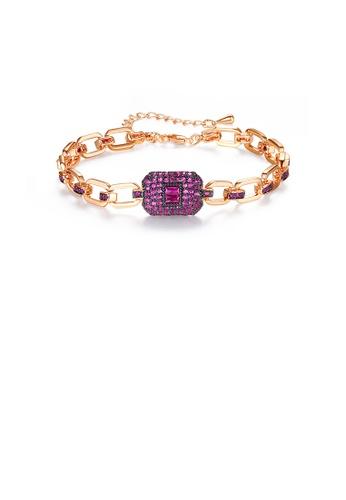 Glamorousky purple Fashion Temperament Plated Rose Gold Geometric Bracelet with Cubic Zirconia 13316ACC7CC699GS_1