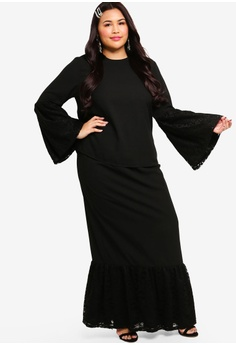 0a4c9505b31 Lubna black Flare Lace Sleeve Kurung 1BFF9AA78E8BEEGS 1