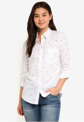 ESPRIT white Woven Long Sleeve Shirt 4266BAA45DF4F6GS_1
