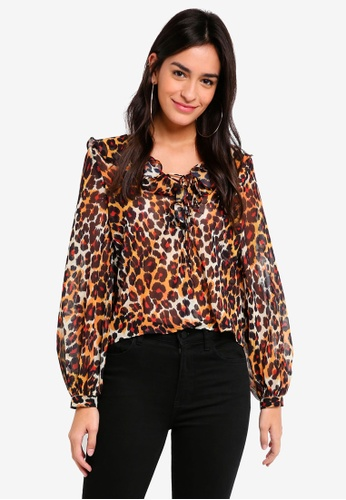 TOPSHOP brown and multi Leopard Print Ruffle Blouse DD8F9AA869F75DGS_1