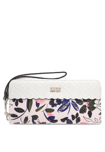 Guess white Rayna Large Zip Around Wallet C49A2AC1D0C9FFGS_1