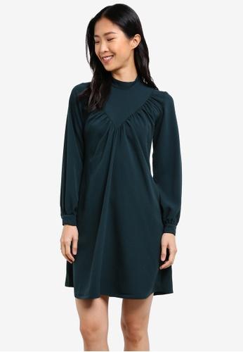 CLOSET green Long Sleeve A-Line Dress CL919AA0S6H0MY_1