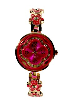 Trendy Floral Ladies Watch with Stainless and Silicon Strap