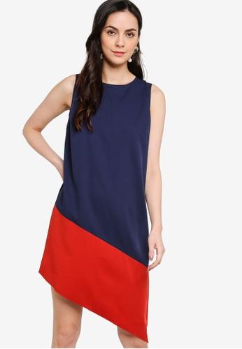 ZALORA WORK multi Colourblock Asymmetric Dress A716FAAF359693GS_1