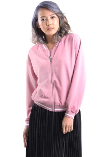 Kitschen pink Basic Sweater Jacket with Zipper E47A8AAC45D339GS_1