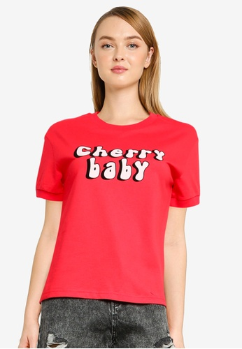 Urban Revivo red Printed Short Sleeve T-Shirt 4483BAAD624E91GS_1