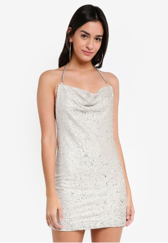 TOPSHOP silver Brushed Sequin Cowl Dress 836C5AA4908BB3GS_1