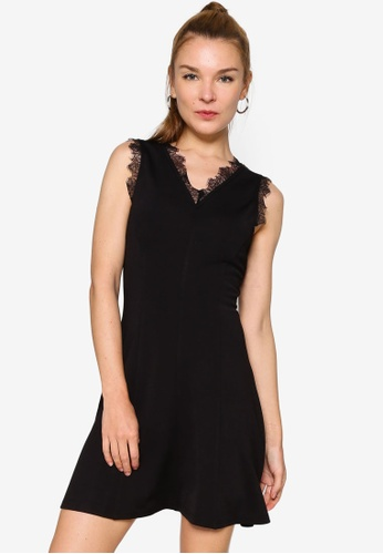 ZALORA WORK black Lace Trim Dress 20F33AA674461FGS_1