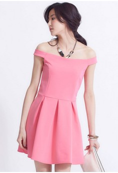 [IMPORTED] Royal Lady Femme Off-Shoulder Dress - Pink