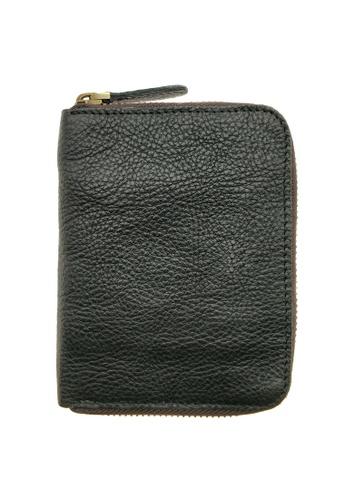 LUXORA black The Ninja Co. Top Grain Leather Billfold Zip Wallet Card Holder Purse Black 96912AC49D0794GS_1