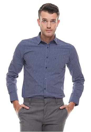 Johnwin blue LGS - Slim Fit - Kemeja Formal - Lengan Panjang - Kotak - Biru D85D3AA57E622AGS_1