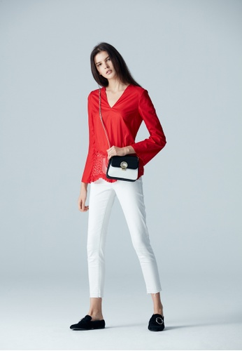 iROO red EMBROIDERY BLOUSE 20356AA5B220A6GS_1
