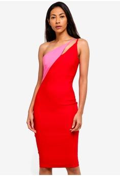 4aa0c1bd26 Vesper red Vesper Fauna Asymmetric Contrast Midi Dress 13389AA46BAAD1GS 1