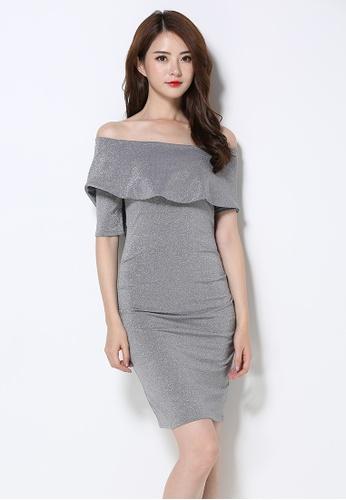 Sunnydaysweety silver Fall New Off Shoulder Shining One Piece Dress UA092502 SU219AA0FVJLSG_1