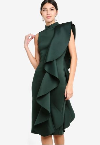 Lavish Alice green Asmetric Draped Frill Midi Dress In Scuba 76B1AAA97DC053GS_1