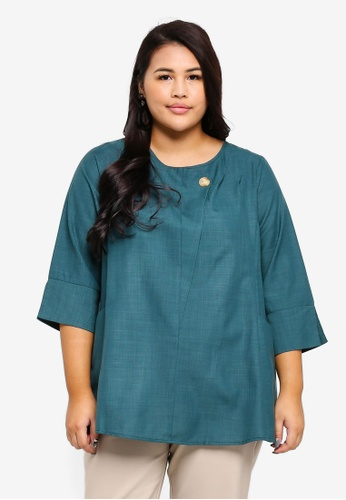 Ex'otico green Plus Size 3/4 Sleeve Long Blouse D9C5DAAF3319EEGS_1