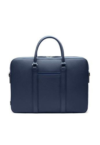 Maverick & Co. blue Maverick & Co. Manhattan Monochrome Leather Briefcase (Navy) E0A8EAC0469B10GS_1