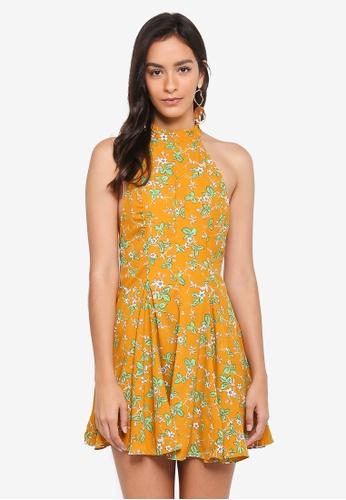 INDIKAH yellow Open Back Skater Dress D95EFAA172CAC8GS_1