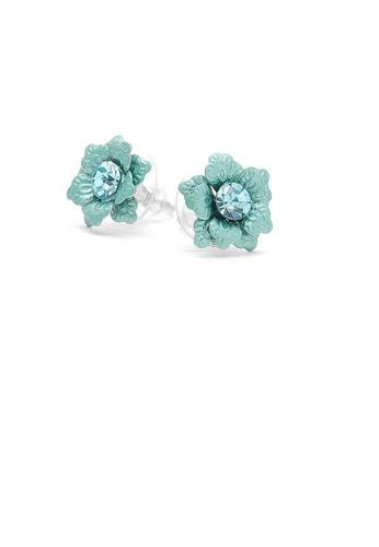 Glamorousky blue Blue Flower Earrings with Austrian Element Crystal 18207AC61C7CF5GS_1