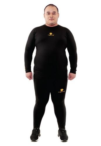 Tiento black Tiento Baselayer Jumbo Manset Olahraga Long Sleeve Black Gold dan Celana Legging Long Pants 1 Set Big Size 79D20AA5662E7DGS_1