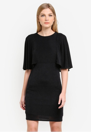 Dorothy Perkins black Cape Sleeve Shimmer Shift Dress DO816AA0S4S2MY_1