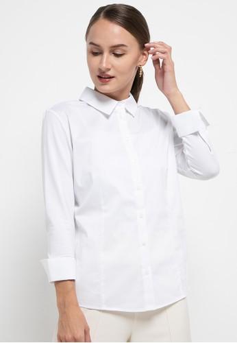 Benang Jarum white Mix Fabric Shirt 4507FAACA296C8GS_1
