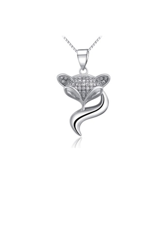 Glamorousky white 925 Sterling Silver Fox Pendant with Austrian Element Crystal and Necklace 371BBAC607424FGS_1