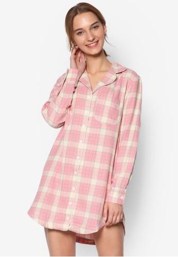 esprit台灣官網柔和格紋長襯衫睡衣, 服飾, 服飾