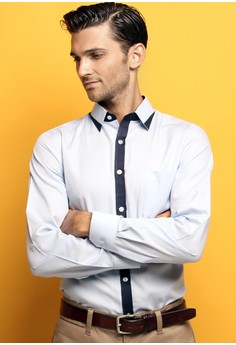 Gent Light Blue Contrast Collar Shirt