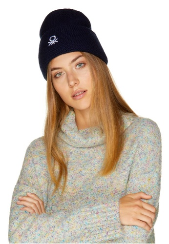 United Colors of Benetton 藍色 高領花紗針織衫 15ADDAA610E513GS_1