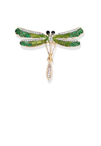 Glamorousky white Fashion Simple Plated Gold Dragonfly Brooch with Cubic Zirconia 83B4BACCB96BF6GS_1