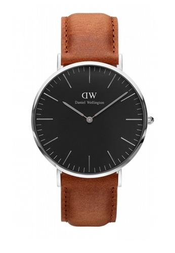 Daniel Wellington silver and brown Classic Black Durham Watch 40mm DA376AC83NBKMY_1