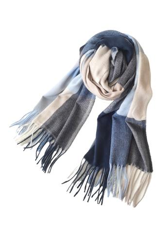HAPPY FRIDAYS blue Imitation Cashmere Mix Color Checked Scarf JW JS-1210 A3B84AC0D0DE03GS_1