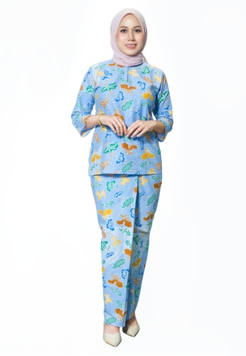 House Of Olsha blue and multi Batik Cotton Kurung Kedah - Zahra Blue 776F1AA878C43AGS_1