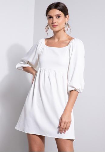 ZALORA OCCASION white Puff Sleeve Square Neck Dress 97B68AA4289843GS_1